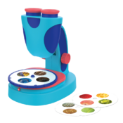 Zoom in on 60 unique images that come with this beginner microscope. Printed slides guarantee a successful viewing experience every time. Children can also place their own specimens on the viewing stage and take a closer look.