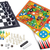 This foldable box set includes eight all-time-favourite board games with magnetics pieces. Ideal to play chess, checkers, nine men's morris game, snakes and ladders, goose game, same horses, Chinese chekers, and backgammon. All games have their notice included.