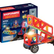 NEW! The outstanding 54-piece Magformers Dynamic Flash set features the latest spinning and flashing LED (updated design) with click together wheels and 9 different types of magnetic shapes (inc trapezoids, hexagons,). It makes amazing 3D vehicles, animals, nightlights and buildings.