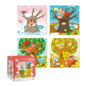 The Dodo Puzzle '4 in 1 Four Seasons' is an exciting set of 4 themed puzzles including 12, 16, 20 and 24 piece challenges. This seasons gift set introduces little ones to the key features of our four seasons. 3+