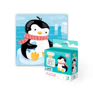 The Dodo Colouring Puzzle 2 in 1 Penguin is an exciting double sided, 16 piece puzzle. On one face there is a cheerful Penguin design, whilst on the reverse children will find a penguin outline, perfect for colouring in. 3+