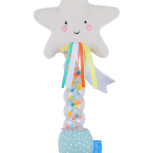 The Taf Toys Star Rainstick Rattle provides soothing raindrop sounds in a toy that little ones will love. With a plush star and colourful ribbons for tactile exploration and the beads encouraging the development of motor and coordination skills. Birth+