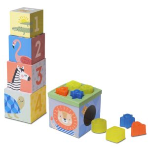 Taf Toys Savannah Sort & Stack, is a stylish toddler toy that includes five sturdy cardboard stacking boxes with gorgeous designs. Also included are 8 colourful blocks and a shape sorter lid making this ideal to develop problem solving.