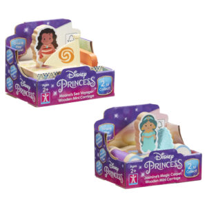 Perfect for small hands, these chunky Disney Princess Wooden Mini Carriages feature double sided figures. Assortment of 2 - Moana and Jasmine.