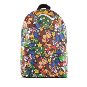 Beautiful collage image of a multitude of Super Mario characters with branded patch on strap. Sturdy Laptop section to keep your valuables safe. Large front pouch.