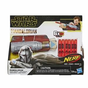Imagine the adventures of a lone bounty hunter in the outer reaches of the galaxy!  Load a NERF Elite dart into the gauntlet, the press the button on the gauntlet to launch.