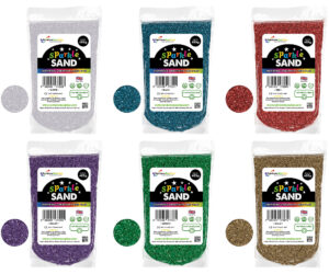 Add some sparkle to your art and crafts projects with coloured eco glitter sand without micro-plastics. The responsible alternative to craft sand made with plastic glitter. Natural coated quartz using environmentally friendly and safe ingredients.