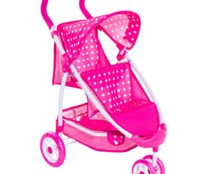The Dotty tandem dolls pram has room for two! Perfect for outdoor play, the Dotty encourages role-play and imagination. Now your child's two favourite dolls can come along for the ride, with two seats, one in front of the other.
