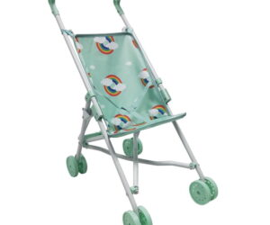 The Roma Rupert Umbrella Buggy is the perfect easy lightweight dolls pram for all little boys and girls from the age of 3. The Rupert umbrella buggy offers a beautiful rainbow print with a white frame finish.
