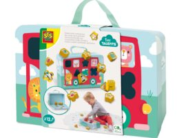 This red bus can hold lots of happy animals and all kinds of luggage. Will you help me get on the bus? Put the 12 figures in the shape sorter and take it everywhere you go.