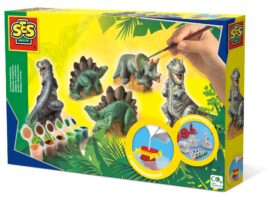 Dinosaur figurines made of plaster. With this fun and easy-to-use kit, start by making the cast models by tipping the safe mixture into the plastic moulds.