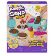 The Kinetic Sand Ice Cream Treats Playset comes with three colours of scented Kinetic Sand, six different tools and moulds and six fun topping accessories to create ice cream sundaes, waffles, ice cream cookie sandwiches and more.