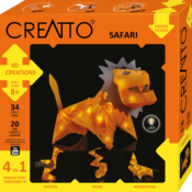 Creatto: A versatile building system that consists of two primary components, that can be woven together into countless 3D creations and each set includes instructions for 4 models (Lion, Snake, Rhinoceros and Osterich) and coloured LED lights to illuminate them.