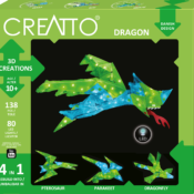 Creatto: A versatile building system that consists of two primary components, that can be woven together into countless 3D creations and each set includes instructions for 4 models (Dragon, Pterasaur, Bird and Dragonfly) and coloured LED lights to illuminate them.