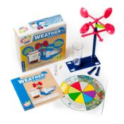 Kids First range: science kits that allow parents to introduce scientific topics to children aged 3+, through different levels, to prepare them for more advanced science kits and schoolwork.  Weather Science investigates wind, rain, storms, clouds, temperature, evaporation, pressure etc.
