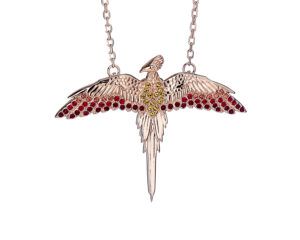 Sterling Silver Rose Gold Plated Fawkes the Phoenix Necklace