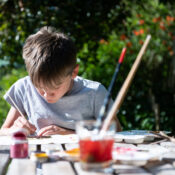 Our Natural Fabric Art Kit allows children to create their own natural artwork using plant dyes and two absorbing techniques to produce vibrant patterns and stunning scenes on a calico cotton flag, and mini-bunting.