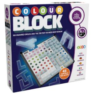 100 coloured circles sit inside a series of grids. 18 shaped blocks together cover 90 of the circles. With each of the 45 puzzles, use logic and spatial awareness is to ensure only the ten circles that you need, remain!