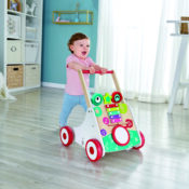 Help your little ones take their first steps in style with this wonderful musical walker. See their faces light up as they start to walk and hear pretty music playing as they go! With adjustable speeds, the walker also features a drum, xylophone and three spinning blocks for additional musical play.