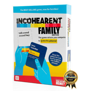 OH WEM SHE (OMG), a best-selling game where you compete to guess the gibberish, is now available for families! Incohearent™ Family Edition is the perfect addition for any family game night that will make you all ELLOW WELL (LOL)!