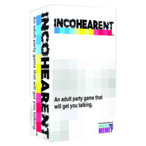 Incohearent is the adult party game by What Do You Meme that will get you talking! Let the laughs begin as you compete to make sense out of gibberish from one of three categories — kinky, party and pop culture.