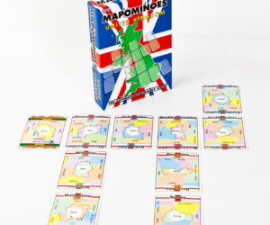 Award winning educational family game. Like dominoes with maps as you build a map of UK by connecting counties that border one another. A clever tactical geography game, simple to play and loved by kids and adults.