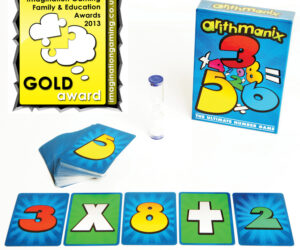 ARITHMANIX is an exciting, quick playing, multi-award winning, educational, family card game of manic maths. Popular with kids, parents and grandparents alike. There is no waiting around as everyone plays simultaneously in this fast-thinking, brain training, battle of mental arithmetic.
