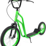 The stand-out Xootz BMX Scooter with large tread pneumatic front and rear wheels make light work of any tricky terrain that may be encountered on an adventure. Accompanied by front and back V-brakes and soft touch bar grips, children can stay both in control and comfortable during every ride. Lightweight and built to last, the Xootz BMX Scooter also boasts an extremely durable frame while being light enough to be ridden over long distances.