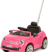Be the coolest kid in town with this officially licensed FIAT 500 ride-on car with push handle. It is just like the real thing and finished in gorgeous Bubble-gum Pink, kids will love to go out and about In it. This 2-in-1 push and ride-on car means that you can either push it along using the height adjustable, twist to steer handle or slide back the floor of the car and kids can push the car along themselves with their feet. It is an ideal toy to grow with your child, as small children will love to be pushed along but as they grow they can then push themselves along. This fun push along ride in car includes a high-back comfortable seat, working headlights, a horn and opening doors to make it easy to get in and out of your car. You can even listen to music as you ride along with 10 songs pre-installed. Recommended age 2-4 years. Maximum user weight 23kg/ 50.7lbs. Size: L98.4cm x W54.7cm x D63.2cm.
