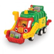 Push & Go motorised recycling truck Realistic engine sounds and tipping front arm, rear sorter Revolving waste crusher Opening slide door to release recycling bins Removable figures and recycling bins  Sturdy carry handle Age 1-5