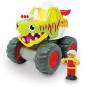 Push & Go motorised Monster Truck Realistic engine sounds Push-down engine opens monster mouth revealing large monster teeth Oversized super grip rubber tyres Removable driver figure Age 1-5