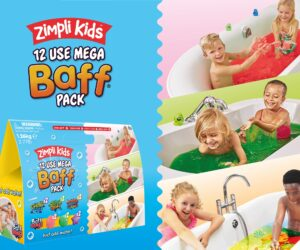 This ultimate bath time fun 12 use pack includes; 2 x Slime Baff, 2 x Gelli Baff, 2 x Crackle Baff Colours & 6 x Baff Bombz! Certified biodegradable Gelli & Slime, biodegradable Baff Bombz & Crackle.