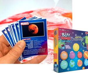 Discover our solar system and travel on a colourful fizzing, bath time adventure! Includes 9 x 35g Planet Baff Bombz & 9 x educational planetary fact cards. 100% Safe, Stain free, easy clean & biodegradable!