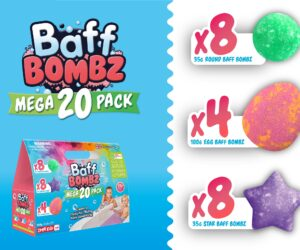 Create a colourful fizzing bath time adventure with this amazing multi pack of biodegradable Baff Bombz! Includes; 8 x 35g Round, 8 x 35g Star & 4 x 100g Egg Baff Bombz.